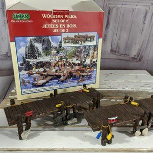 Lemax wood pier dock wooden 14644 xmas enchanted f